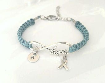 Teal Awareness HOPE Charm Bracelet Ovarian Cancer Tourettes Syndrome Hydrocephalus Ocd Anxiety Ptsd Sexual Assault Scleroderma POSD Hernia