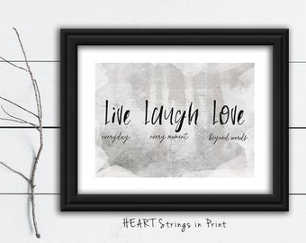 Live Laugh Love, 8x10 Digital Print, Farmhouse/Primitive Wall Art, Home Decor, Quote, Printable #252