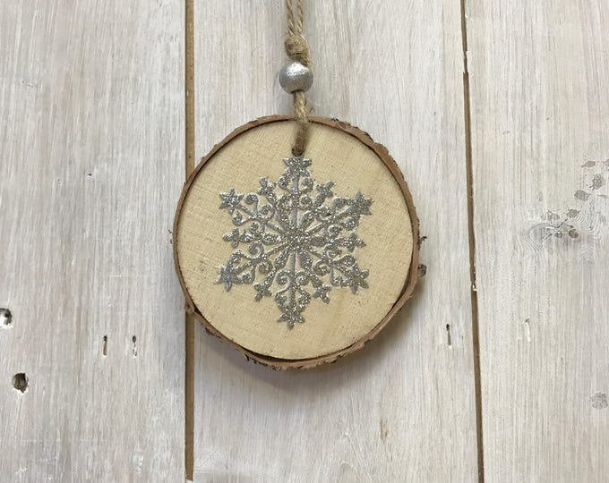 Silver Snowflake Wooden Hanging Tree Decoration
