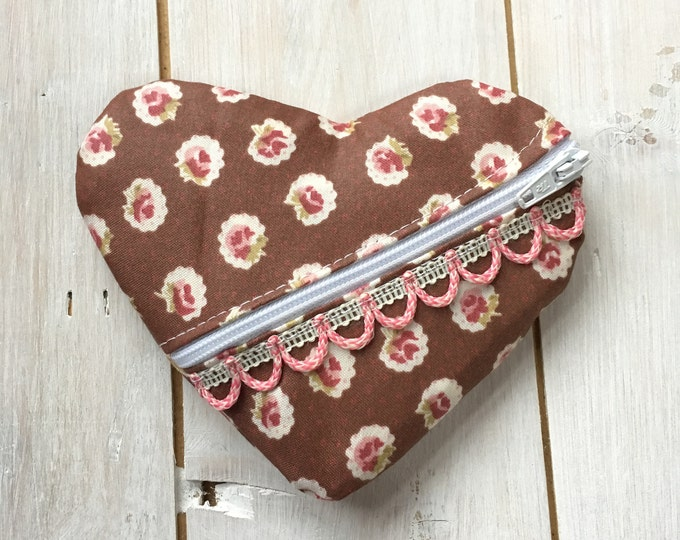 Handmade Pretty Heart Shaped Jewellery travel case, earring pouch, small purse - brown floral