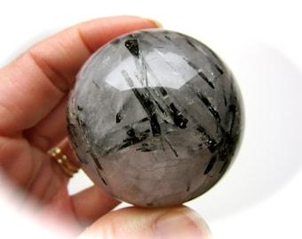 Black Tourmalinated Quartz Crystal Sphere Ball 50mm 190g