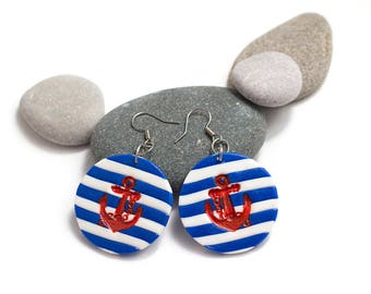 Beach Jewelry for Wife, Anchor Earrings, Nautical Earrings, Large Striped Earrings, Summer Earrings, Beach Earrings, Blue White Earrings