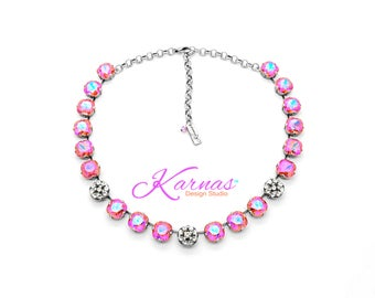 PADPARADSCHA & PAVE 12mm Necklace Made With Swarovski Crystal *Choose Finish and Size *Karnas Design Studio™ *Free Shipping*