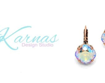 COLORADO TOPAZ SHIMMER 12mm Cushion Cut Earrings Swarovski Elements *Choose Your Finish & Style *Karnas Design Studio™ *Free Shipping*