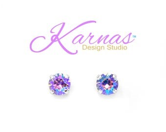 VIOLET GLACIER BLUE 8mm Earrings Made With Swarovski Crystal *Choose Finish & Style *Karnas Design Studio™ *Free Shipping