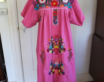 Pink Embroidered Mexican Dress - Size Medium/Large