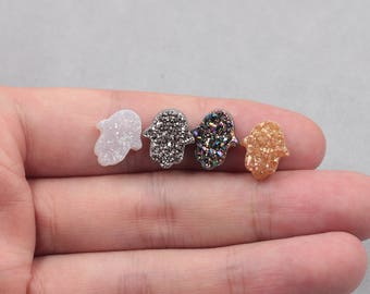 13mm Quartz Druzy Pendants Beads Hamsa Palm Hand Of Fatima -- Druzzy Drusy Geode Dainty Charms Supplies Handmade MHA-185,YHA-323