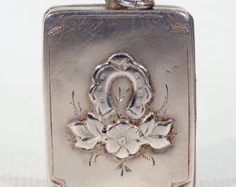 Antique Victorian Silver Horseshoe Flower Locket