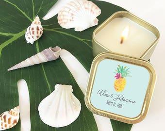 Pineapple Party Favor Candles - Pineapple Bachelorette - Tropical Wedding Favors - Beach Wedding Favors Bridal Shower  (EB3211TPB) - 12| pcs