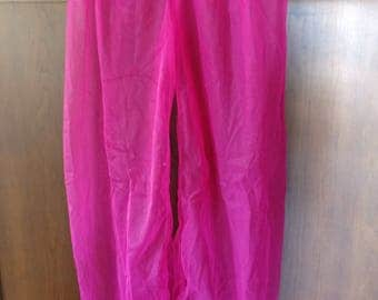 Vintage 80's Harem Pants Pantaloons Hot Pink Polyester fabric Belly Dance performance Cabaret Fusion Cosplay size XS Petite or Teen