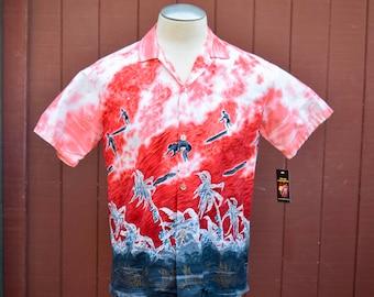 1950s Cotton Surf Border Print Hawaiian / Aloha shirt Medium Diamond Head