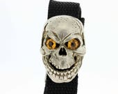 Silver Biker Style Skull Bracelet With Citrine Eyes