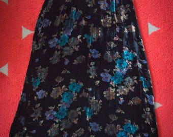 Velvet Midi Length Skirt