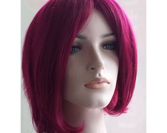 New Year Eve party wig. Christmas party wig. New Year wig. Christmas wig Sale. Burgundy short straight wig. Red Wine hair. Ready to ship.