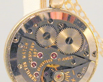 Steampunk Vintage Watch Movement Pendant with Chain OOAK #1