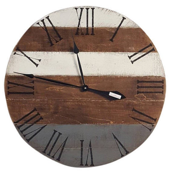 gray clock white clock rustic clock farmhouse clock wall