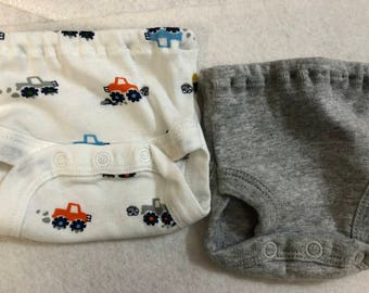 Baby Doll Diaper Covers, Panty, 15 inch AG Bitty Baby Clothes or Twin,Fits 16 inch Cabbage Patch Doll, SET of 2 for 3.00, Cool TRUCKS & Gray