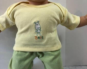 "15 inch Bitty Baby Clothes, 2-Piece Outfit, Super Cute ""PUPPY DOG - Baby"" Top, Green Pants, 15 inch Bitty Baby and Twin Doll, American Doll"