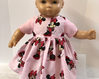 "15 inch Bitty Baby Clothes, DISNEY ""MINNIE Mouse"" Dress, 15 inch American Doll Bitty Baby or Twin Doll, Perfect for Going to Disneyland!"