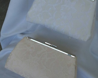 peach ivory white floral  lace wedding bridal evening summer prom clutch purse BBsCustomClutches