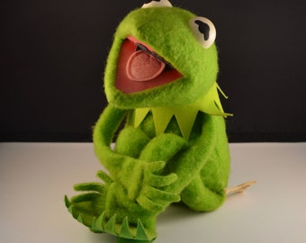 Kermit the Frog Plush Doll, Jim Henson Velcro Muppet, Vintage 1976