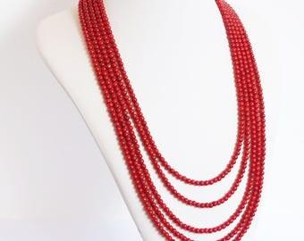 necklace,  multistrand necklace, handmade necklace, red necklace, red coral necklace, bamboo coral necklace, bamboo coral beads, red jewelry