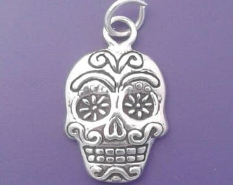 SUGAR SKULL Charm .925 Sterling Silver Day Of The Dead Halloween Pendant - lp4481