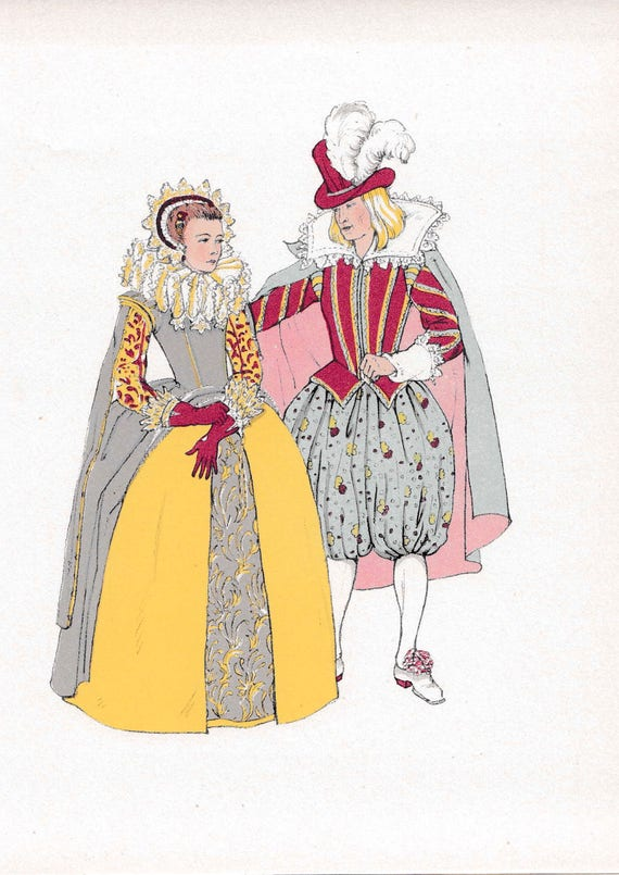1940's print of 17th century man and woman in very fashionable Elizabethan outfits, wigs, flounces, lace, ruffs, published 1940