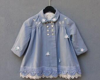 Blue Lace Jacket, Baby Child Coat size 12-18 months Vintage Embellished Floral Lace Fabric Clothing