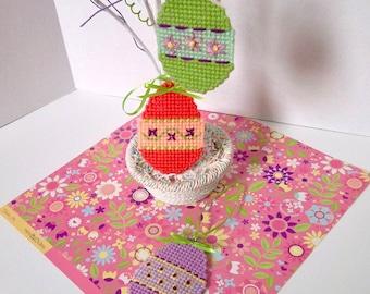 "Plastic Canvas: ""Garden Blooms"" Easter Egg Ornaments (set of 3)"