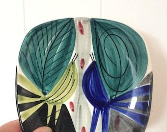 Mid Century DISH BOWL Inger Waage Stavangerflint Two Bird Dish Ceramic Dish Vintage 1950's Norway Scandinavian Design Retro