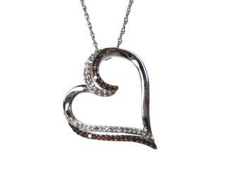 10K Red White Diamond Heart Pendant Necklace