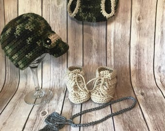 Camo Outfit. Military. Hunting. Hand crocheted. Hat , diaper cover, dogtag and booties. Made to order