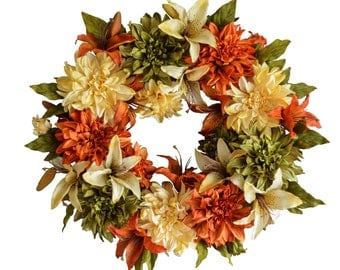 Autumn Wreaths | Front Door Wreaths | Dahlia & Lily Wreath | Fall Wreath | Outdoor Wreath | Fall Decorations