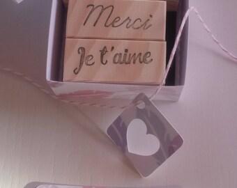 """Coffret de tampons """"mots doux"""" bonjour merci je t'aime / Sweet Words Rubber Stamp"""