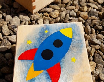 Rocket Wooden Keepsake Box