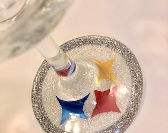 Pittsburgh Steelers glitter wine glass