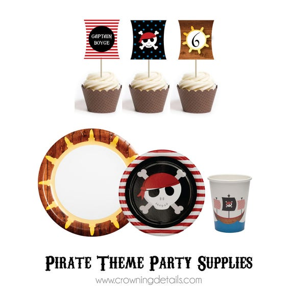 Il_570xn  sc 1 st  Catch My Party & Pirate Party Supplies- Pirate Paper Plates- Pirate Paper Cups by ...