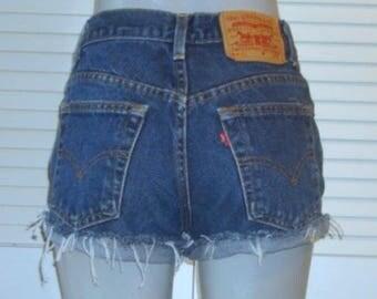 Vintage Levis 551 Dark High Waisted Cut Off Festival Blue Jean Shorts~12~