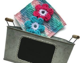 Flower Scrubbies,Dishcloth,Galvanized Tub Gift Set,2 Flower Scrubbies,Cotton Washcloth,Large Galvanized Tub with Chalkboard Surface,Gift
