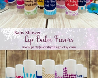 Custom Baby Shower Gifts for Guests | Baby Shower Thank You Gifts | Baby Shower Souvenirs | 10 Clear Lip Balm Favors
