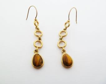 Vintage Monet Tiger Eye Gold Tone Dangle Earrings for Pierced Ears