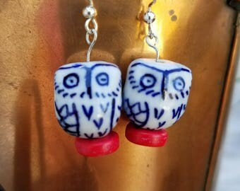 Cute blue owls on white beads paired with recycled flat wooden red bead