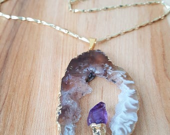Amethyst Agate Druzy Onyx Geode Slice Long 14K gold filled Bar Chain Necklace / Gold Edged Stone / Boho Jewelry / Boho Luxe / Gold Bar Chain