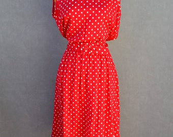 Red and White Polka-dot Dress with Belt