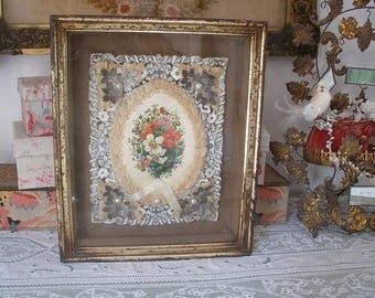 Victorian paper lace in shadow box frame
