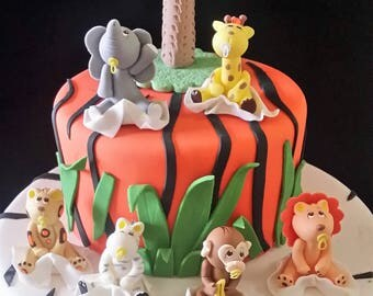 Jungle Baby Shower Safari Animals Zoo Cake Toppers Decoration Elephant Topper Birthday Giraffe