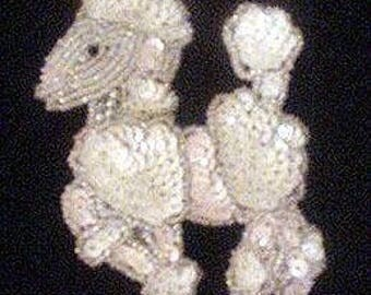 Sequins & Beaded Pink White Poodle Applique