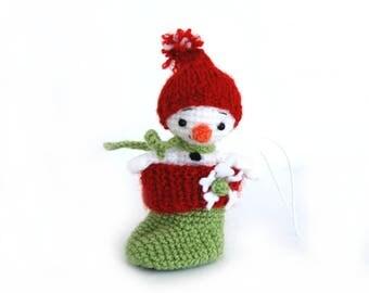 tiny amigurumi snowman in stocking, little christmas decoration, miniature crochet snowman, hanging christmas ornament, little snowman doll