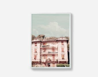 Pink Print, Art Print, Italy Print, Wall Decor, Home Decor, Colourful House, Color Print, Nursery Wall Art, Travel Photography, Pastel Art